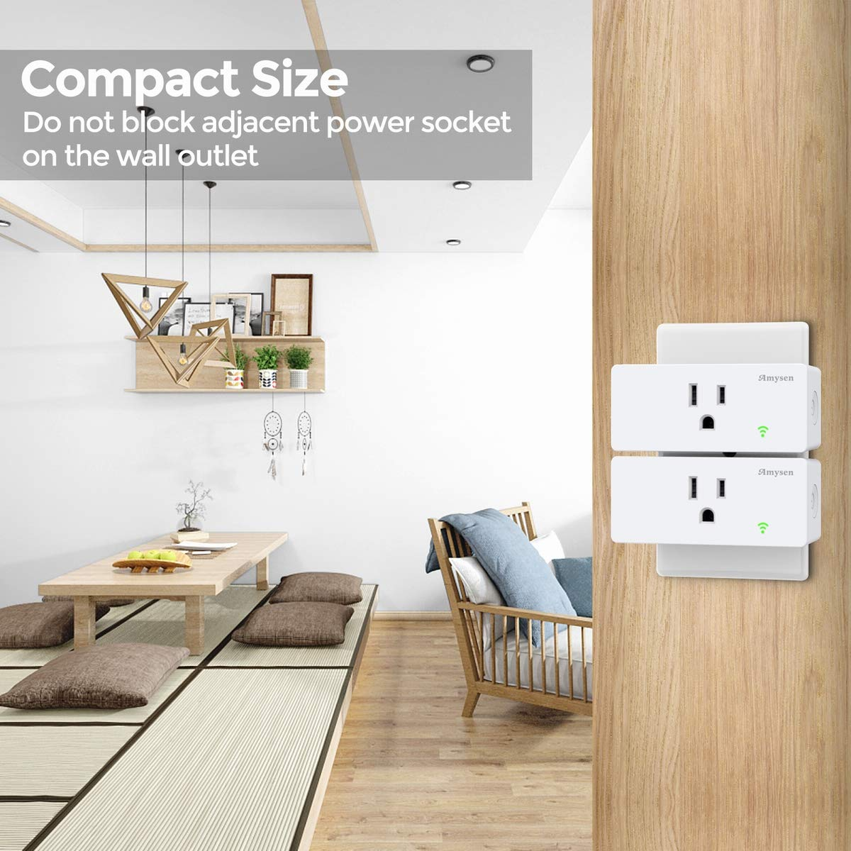 ETL Certified Smart Outlet No Hub Required Only Supports 2.4GHz Network Smart plug Amysen : Smart plug Works with Alexa Control Your Devices from Anywhere White 2 Pack Google Assistant /& IFTTT