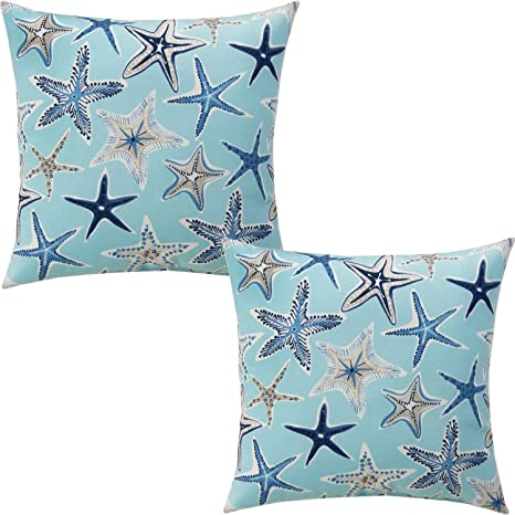 Favdec Embroidered Navy Starfish Decorative Throw Pillow Cover Starfish Throw P