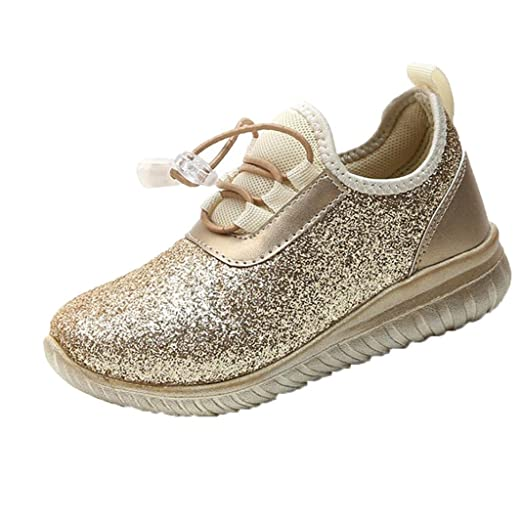 1e65644295647a Amazon.com  KONFA Teen Baby Boys Girls Sequins Soft Sole Running ...