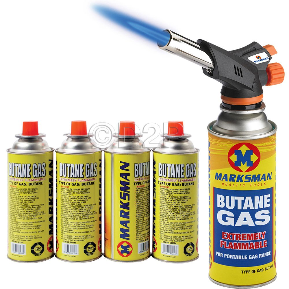 BLOW TORCH BUTANE FLAMETHROWER WEED BURNER WELDING 4 GAS AUTO IGNITION SOLDERING 68511C AND 4 GAS BOTTLES