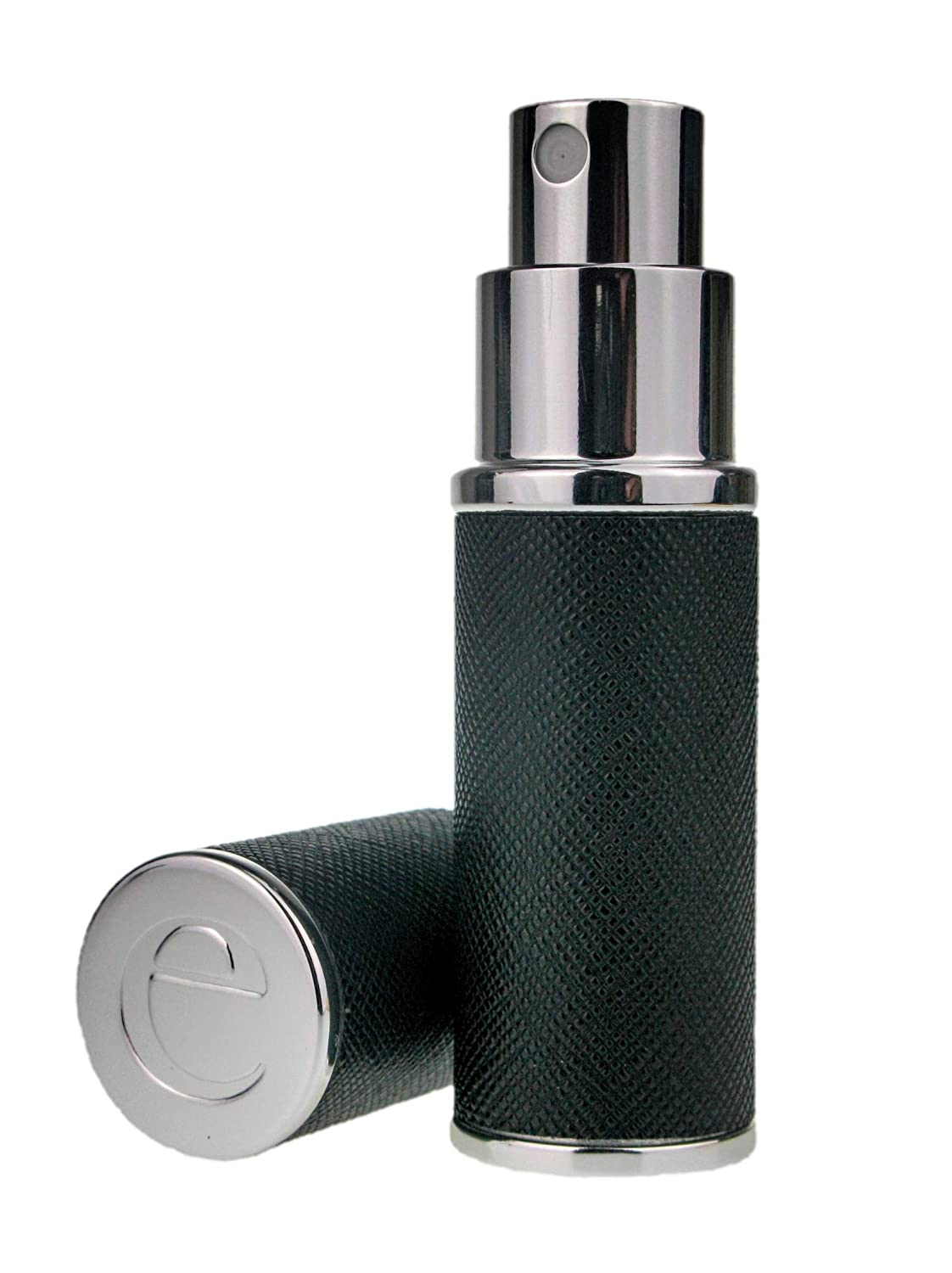 The Essential Atomizer Co. Saffiano Black Leather with Silver Finish Perfume or Aftershave Refillable Travel Atomiser, 8ml, Includes Funnel and Gift Box