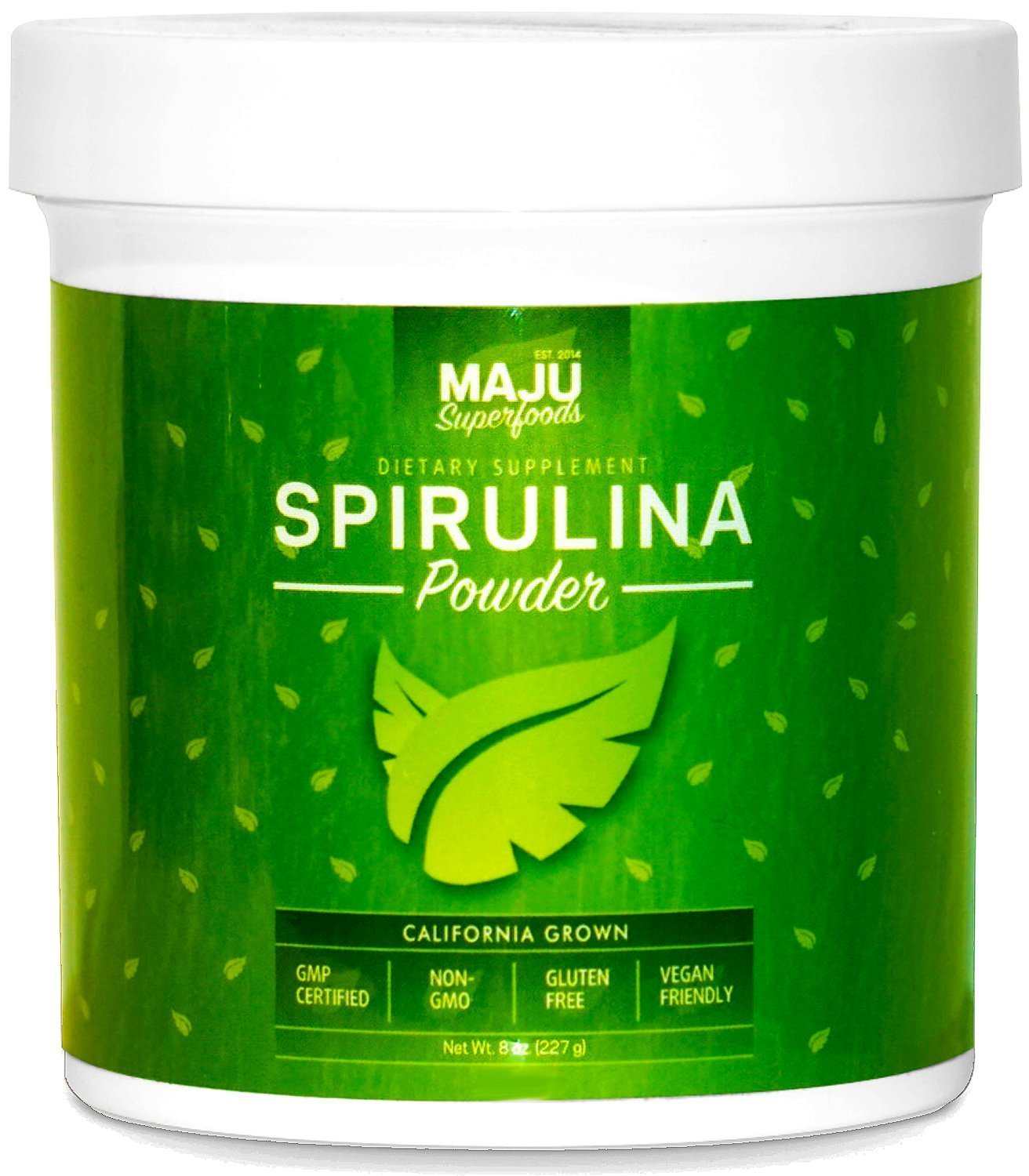 MAJU's California Grown Spirulina Powder (2 Pound): Non-Irradiated, Non-GMO, Spirulina Recipe eBook with Purchase, Vegan…
