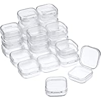 24 Packs Small Clear Plastic Beads Storage Containers Box with Hinged Lid for Storage of Small Items, Crafts, Jewelry…