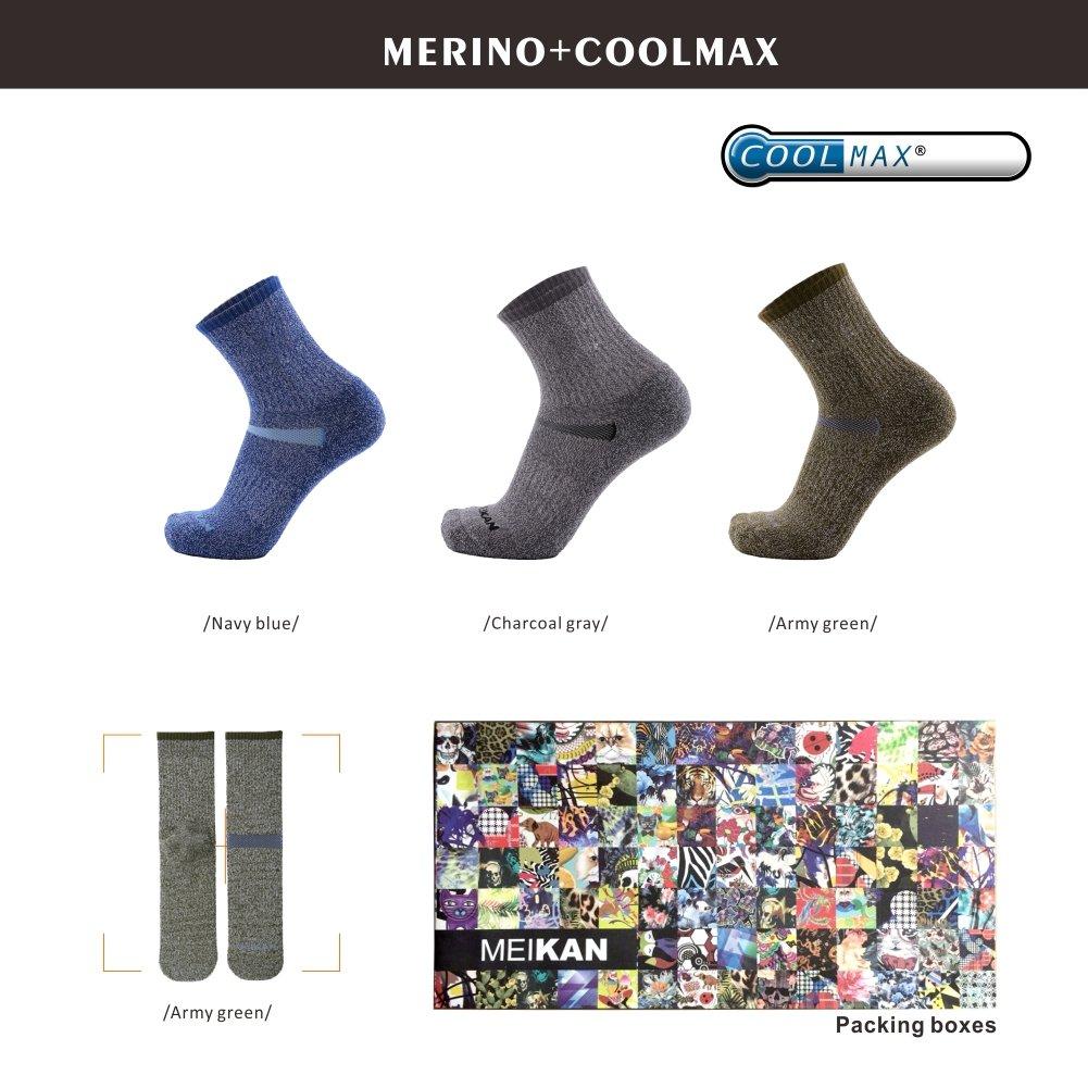 MEIKAN Calcetines de Senderismo Coolmax Trekking de Lana Merino, Calcetines de Rendimiento para entusiastas de los Deportes al Aire Libre, para Hombres y ...