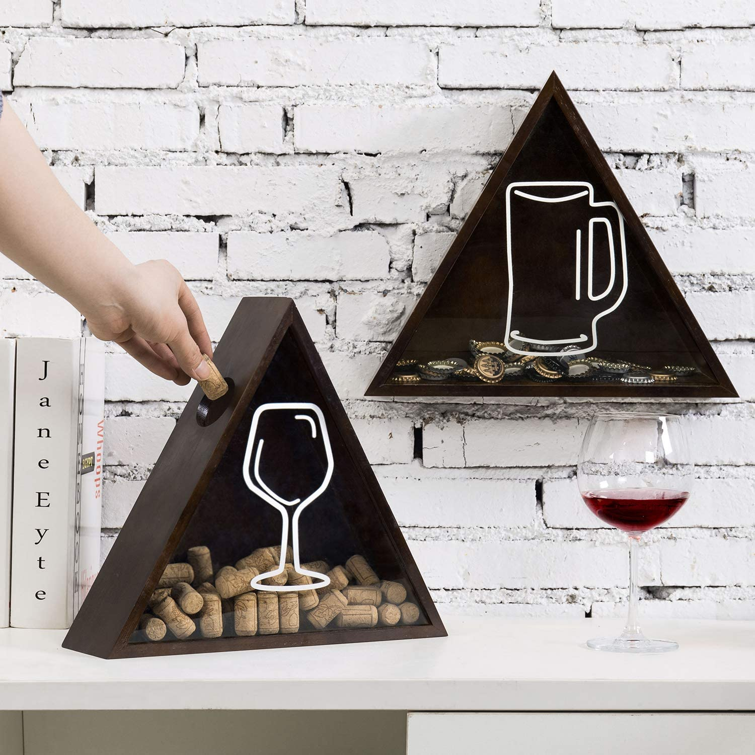 MyGift Wall Mounted/Freestanding Tabletop Triangular Dark Brown Bamboo and Acrylic Wine Cork Catcher and Beer Bottle Cap Holder Shadow Boxes, Set of 2