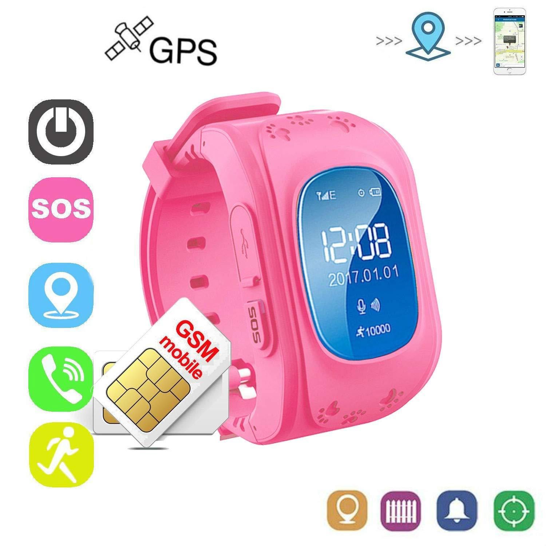 Winnes Reloj Niña Rosa Reloj Niño GPS Localizador Pulsera de ...