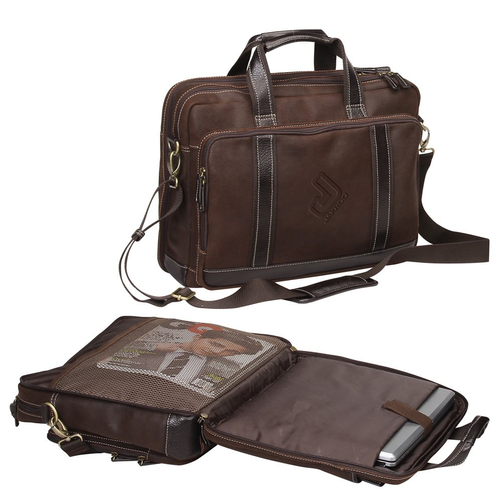 THE OUTBACK RUSTIC, OIL RUBBED LEATHER COMPUTER BRIEFCASE -BROWN