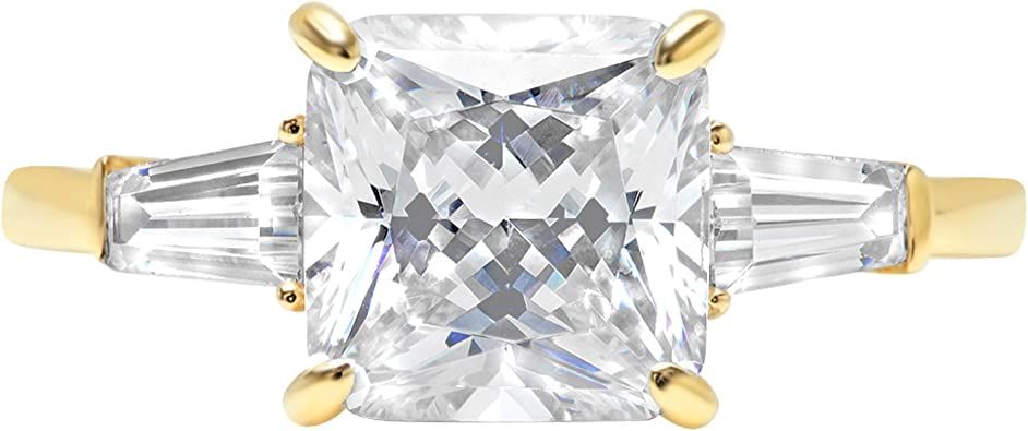 Clara Pucci 3.6ct Brilliant Three stone Round Cut Designer Statement Solitaire Ring 14k Yellow Gold