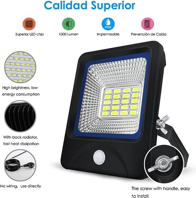Proyector LED 10W,S&G FOCO LED Sensor de Movimiento + Control de ...