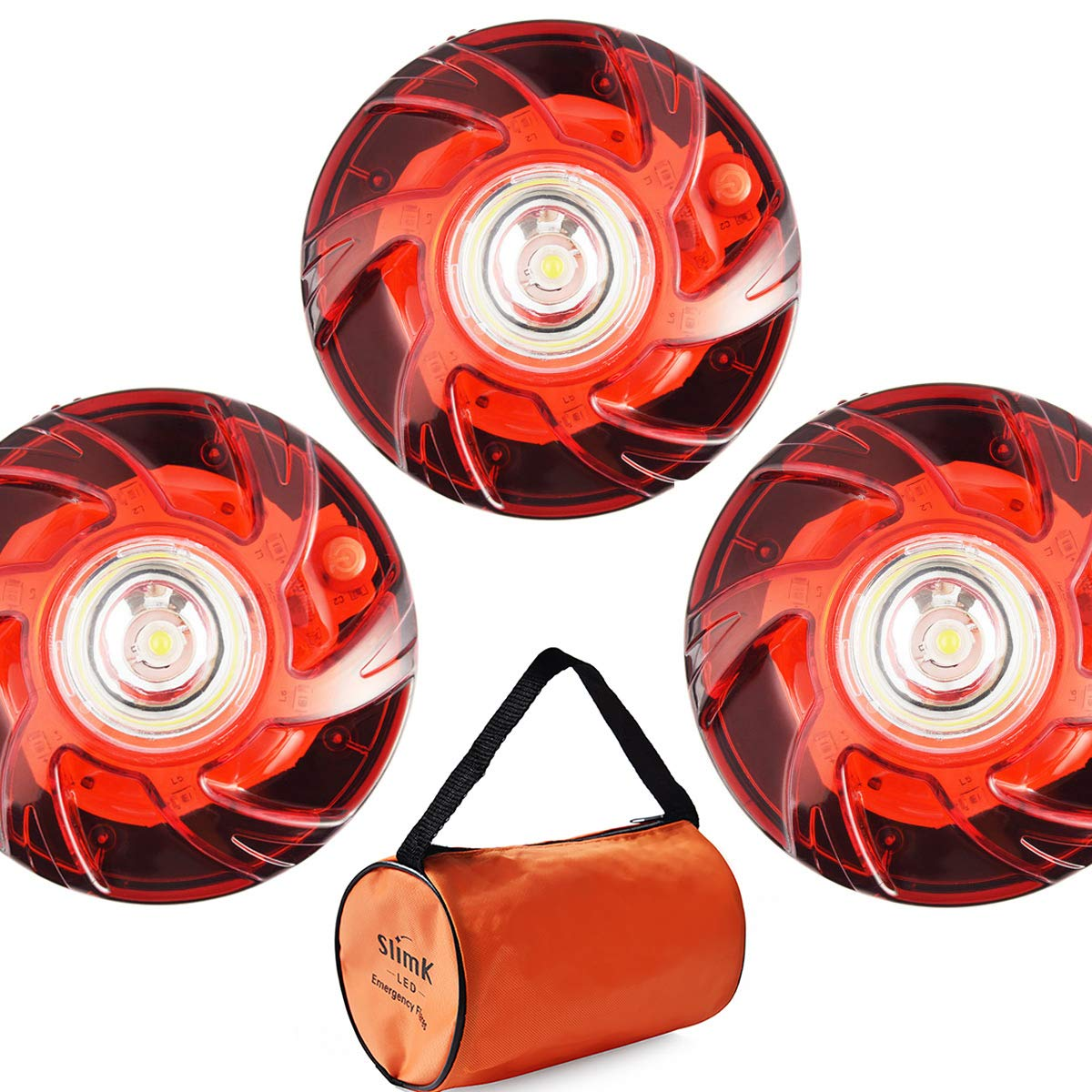 Upgrade Design 6 Modes Visible Up to 2 Miles Away SlimK 3 Pack LED Flare Beacon Auto Roadside Warning Light Safety Emergency Alert