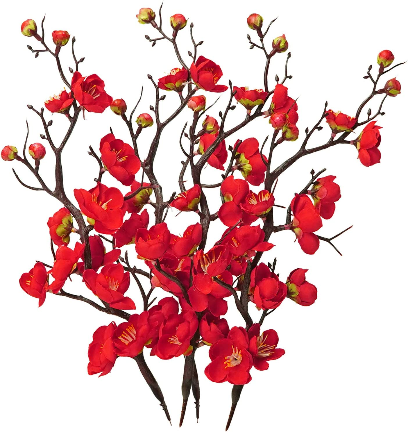LSME Artificial Silk Plum Blossom Branch Real Touch for Table Wedding Bouquet Home Decor 4 Branches Red