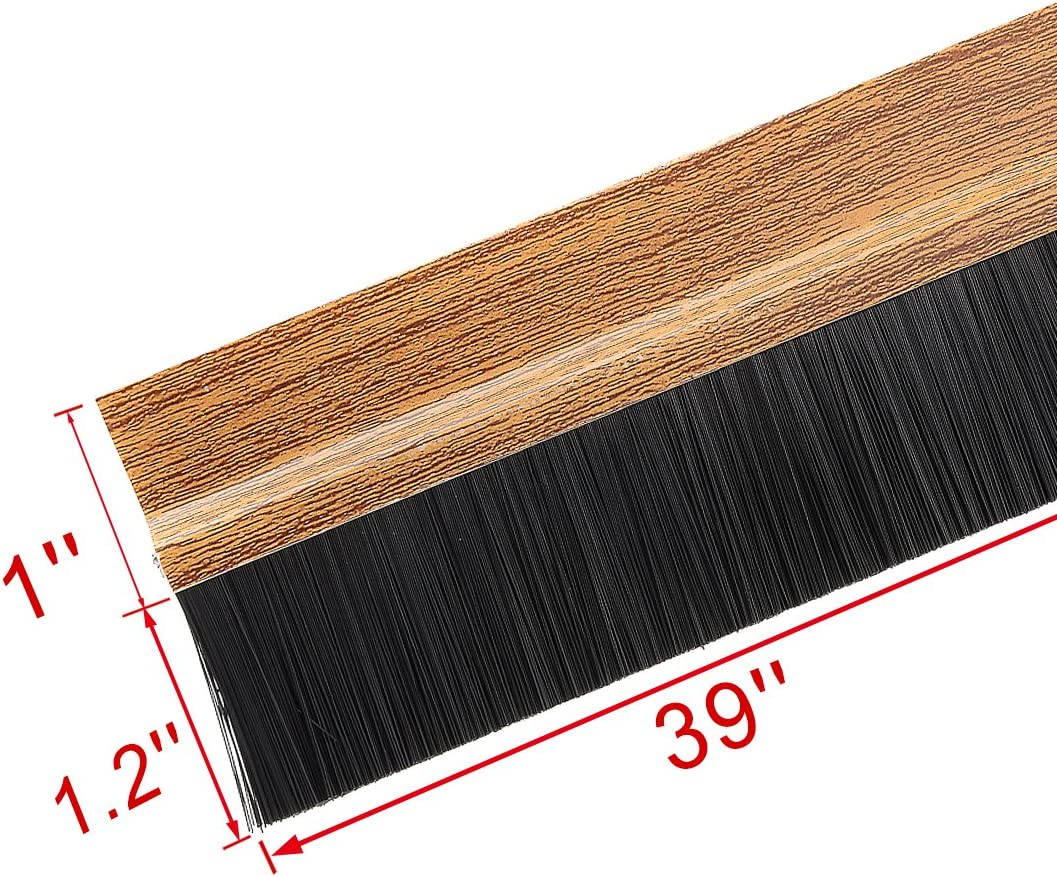 uxcell Self-Adhesive Door Bottom Sweep Wooden Plastic w 1.2-inch Black PVC Soft Brush 39-inch x 2.1-inch