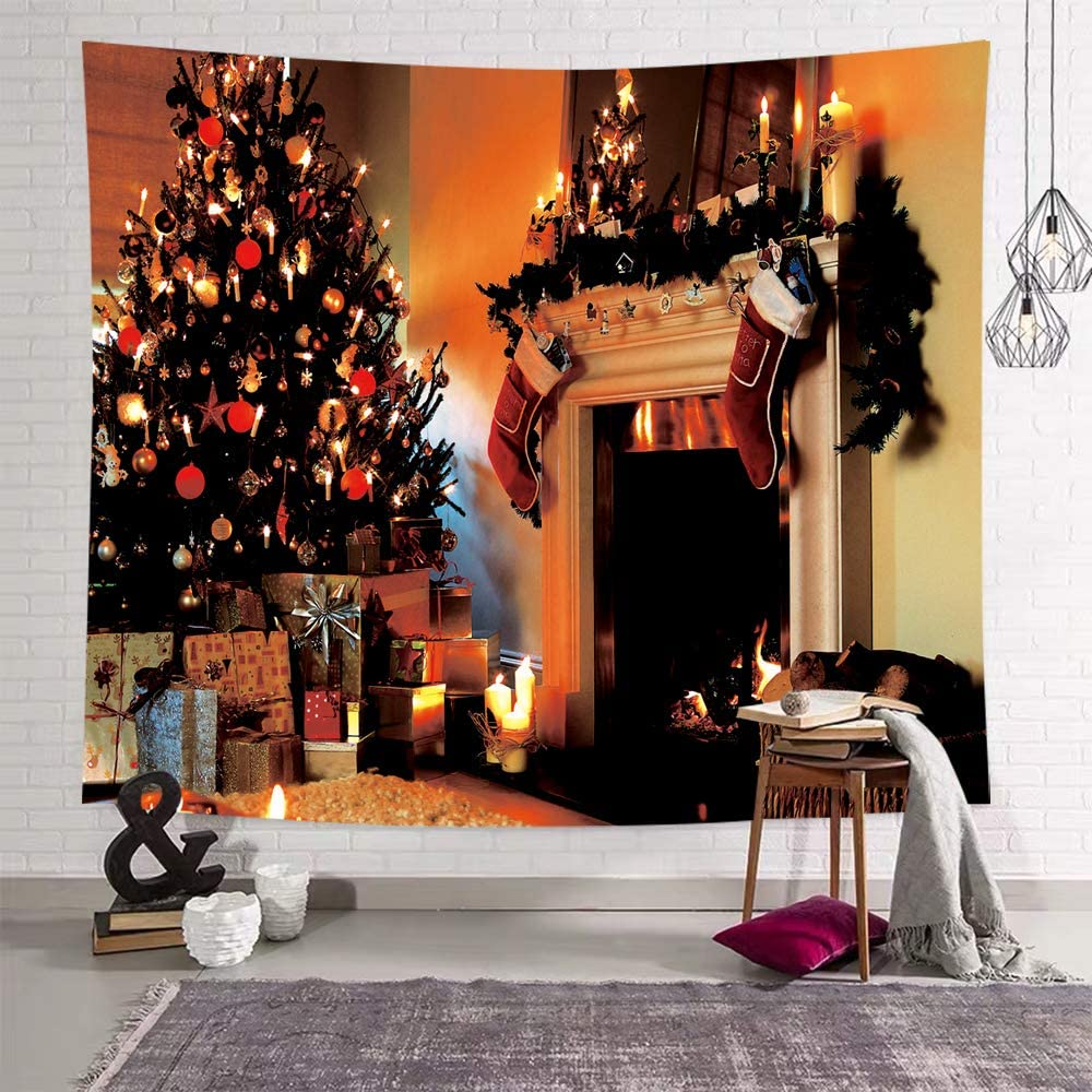 Sevendec DEQI Christmas Tapestry Wall Hanging Xmas Tree Fireplace Stockings Wall Tapestry for Party Livingroom Bedroom Dorm Home Decor W59 x L51