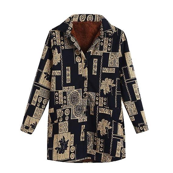 Rovinci☆ Abrigos para Mujer Abrigos de Terciopelo de Invierno Cálido además Abrigos de Terciopelo Vintage Estampados Personalizados Chaquetas Abrigos: ...