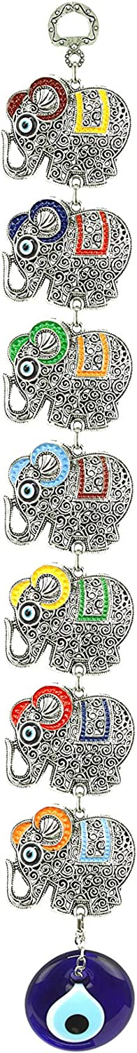 Aeon Design Seven Elephants Turkish Evil Eye Decorative Hanging Ornament Silver Metal Car Home And Office Decor Spiritual Decor Protection and Good Luck Charm Gift Idea 1 Piece-17 Inch Tall (Assorted)