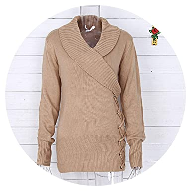 653fe085 Women's Spring and Autumn Fashion Slim Sweater Solid Color V-Neck Long- Sleeved Knit Pullover Fashion at Amazon Women's Clothing store: