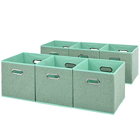 VCCUCINE Foldable 6 Packs Light Green Cloth Fabric Storage Drawers Bins,Collapsible  Basket Cube For