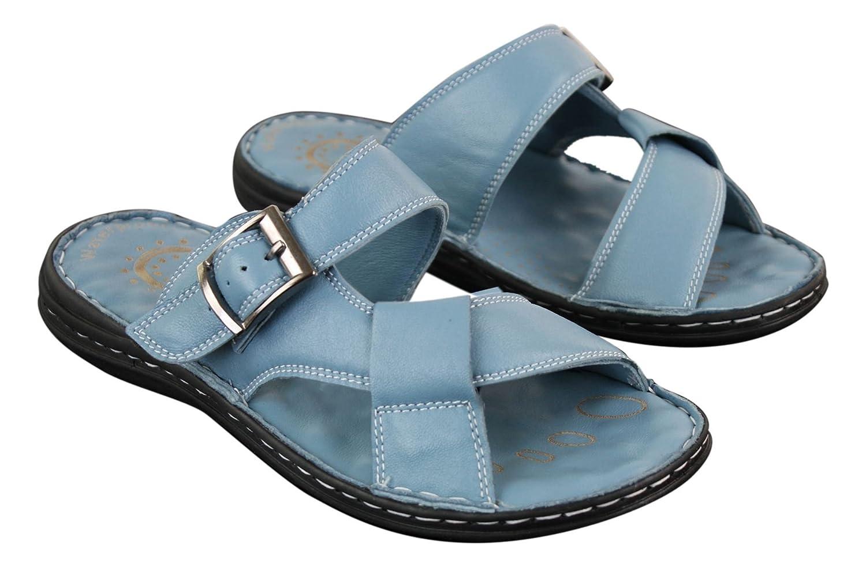 Wyndham Mens Real Leather Slip On Mules Sandals Strap Buckle Premium Comfort Waterproof Walking