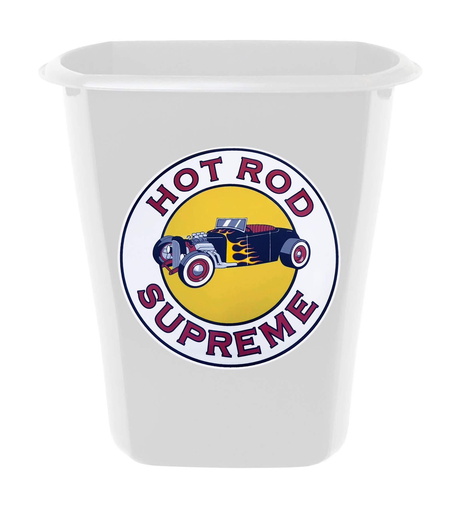 The Furniture Cove 3 Gallon White Plastic Wastebasket Trash Can for the Bathroom or Game Room Featuring the Choice of Your Favorite Vintage Gas Theme Logo Decal (Hot Rod Supreme)