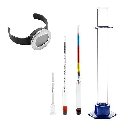 Completamente - Set de para medición de alcohol (etanol)% vol, en vaso de chupito, en el vino, contenido de azúcar en el mosto y con Digital termómetro para ...