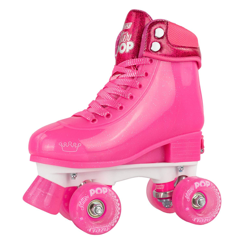 Crazy Skates Glitter POP Adjustable Roller Skates for Girls and Boys | Size Adjustable Quad Skates That Fit 4 Shoe Sizes | Pink (Sizes jr12-2) by Crazy Skates (Image #1)