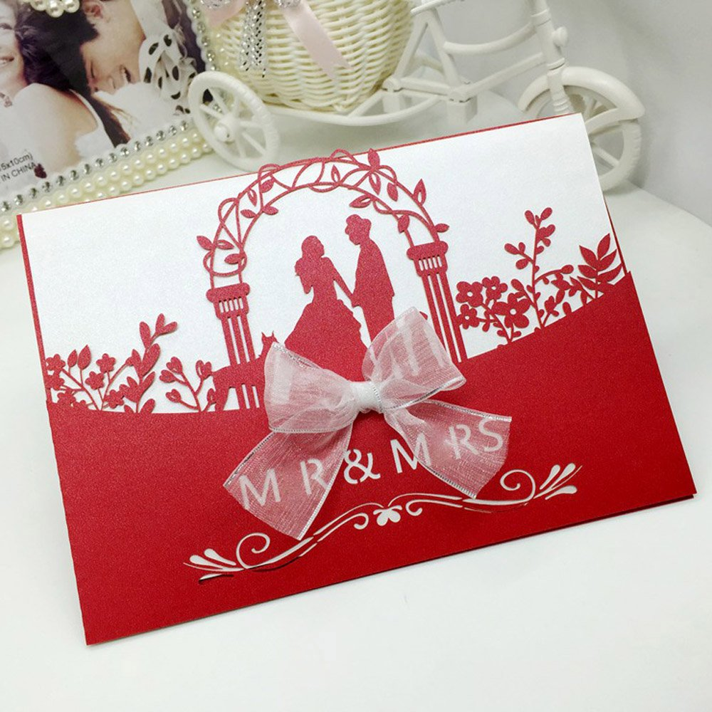 Amazon.com: WOMHOPE® 50 Pcs - Mr & Mrs Wedding Invitation Hollow ...