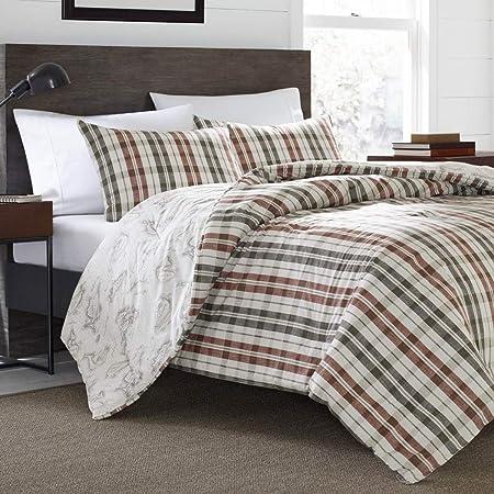 3 colores marrón, gris y rojo rayas blancas de cuadros colcha king set, algodón, Mapa Isla peces diseño de cabina de cama cuadros leñador patrón Lodge Southwest Tartan Madras Cottage rústico: Amazon.es: