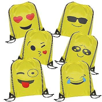 WOLINTEK Emoji Bolsas de Cuerdas - 6 x Emoji Mochilas Petates Infantiles para niños y niñas Cumpleaños Regalos Invitados de Bodas Comuniones: Amazon.es: ...