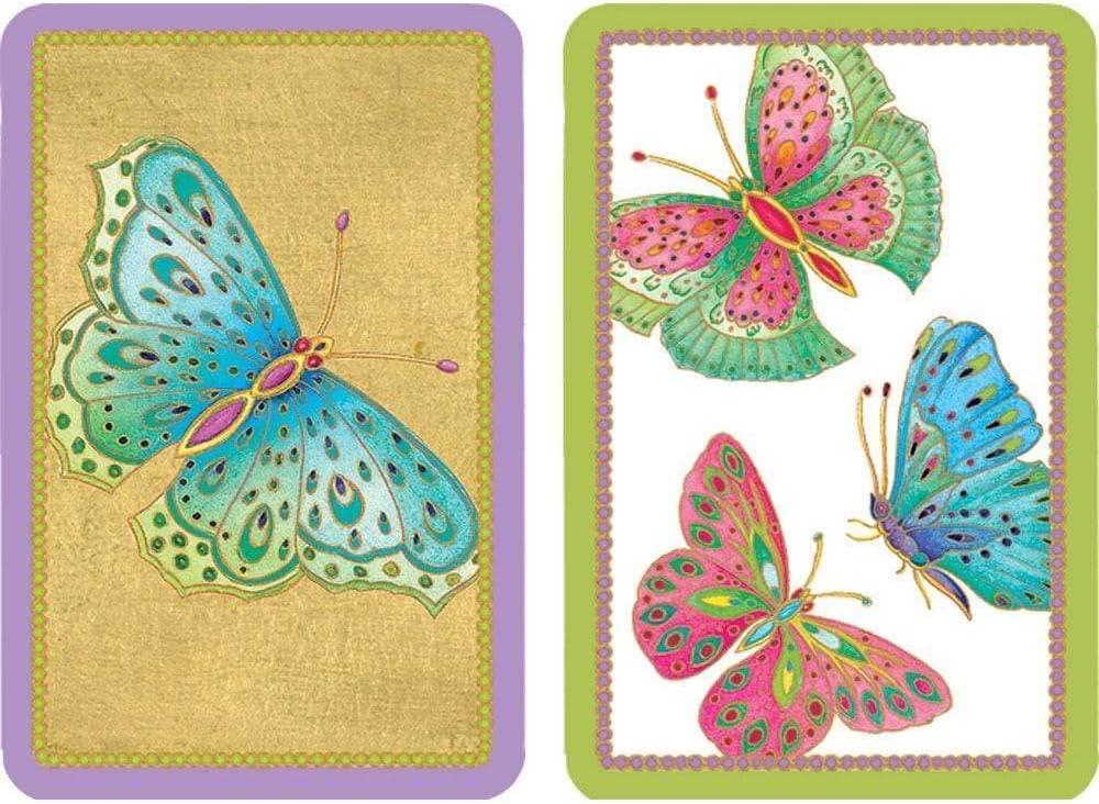Caspari Entertaining Double Deck of Bridge Playing Cards, Jumbo Type, Jeweled Butterflies