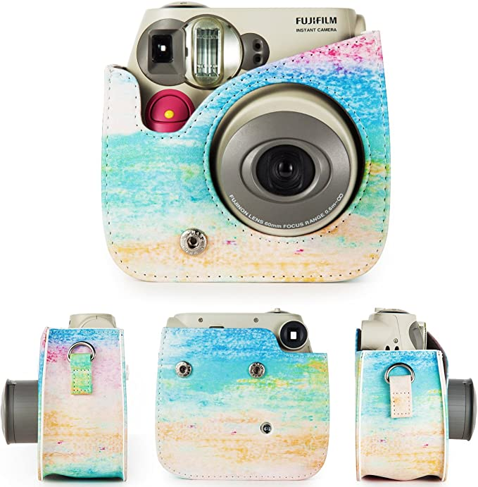 CAIUL Compatible Comprehensive Protection Case for Fujifilm Instax Mini 7s and Polaroid PIC-300 Camera Rainbow Mist