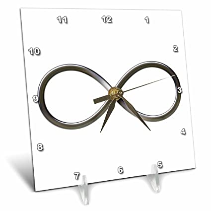 6 by 6-Inch 3dRose dc/_24235/_1 Infinity Symbol on White Background Desk Clock