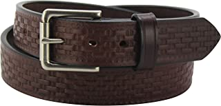 product image for Men's Leather Basket Weave Belt – Heavy Duty Belts, Embossed Design -Made in USA