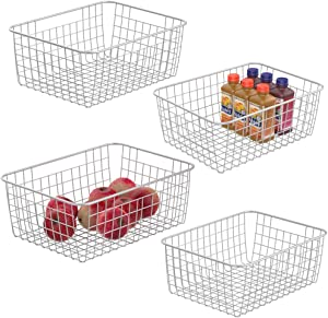Wire Storage Basket iSPECLE Metal Wire Food Storage Freezer Baskets Organizer Bins with Handles for Kitchen, Pantry, Closet, Laundry Room, Cabinets, Garage 4 Pack White