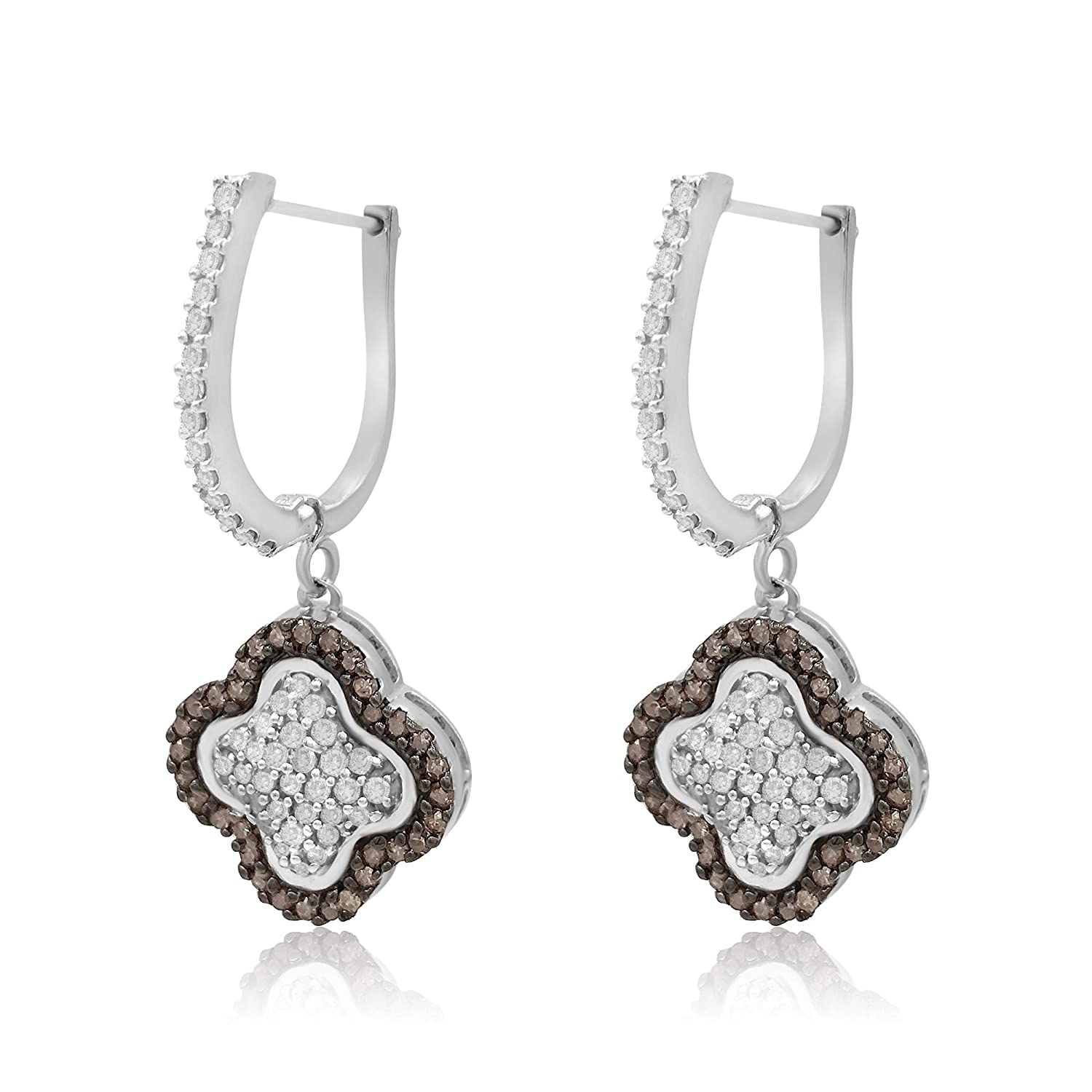 1.62 Cttw Round Cut White /& Brown Natural Diamond Clover Drop Dangle Earrings in Sterling Silver