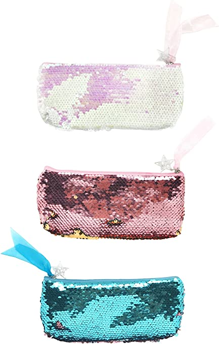 Estuche niña Neceser sirena lentejuelas Monedero Fashion doble de colores de maquillaje bolsillos para mujer y niña infantil, color 3 pack: Amazon.es: Oficina y papelería