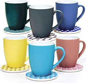 Coffee Mug Set and Drink Coasters Set of 6, 13 Ounce Multicolor Ceramic Coffee Cups Set, 4 Inches Ceramic Coasters for Drinks, Porcelain Coffee Mugs Set of 6, Absorbent Drink Coasters for Wooden Table