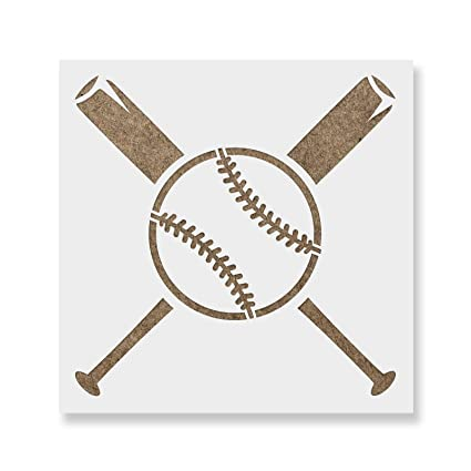 Amazon.com: Baseball and Bats Stencil Template - Reusable Stencil ...