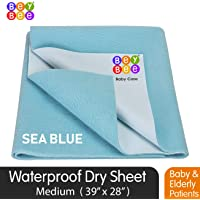 BeyBee Premium Quick Dry Mattress Protector Baby Cot Sheet (Medium, Sea Blue)