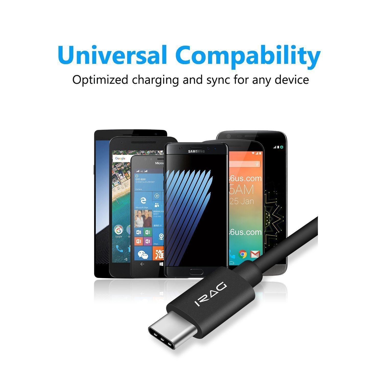 Amazon iRAG Charger Cable for BlackBerry KEYone DTEK60 Motion