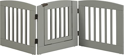 BarkWood Freestanding Wood Pet Gate – 3 Panel Expansion – with Walk-Thru Door – Medium – 24 H – Grey Finish