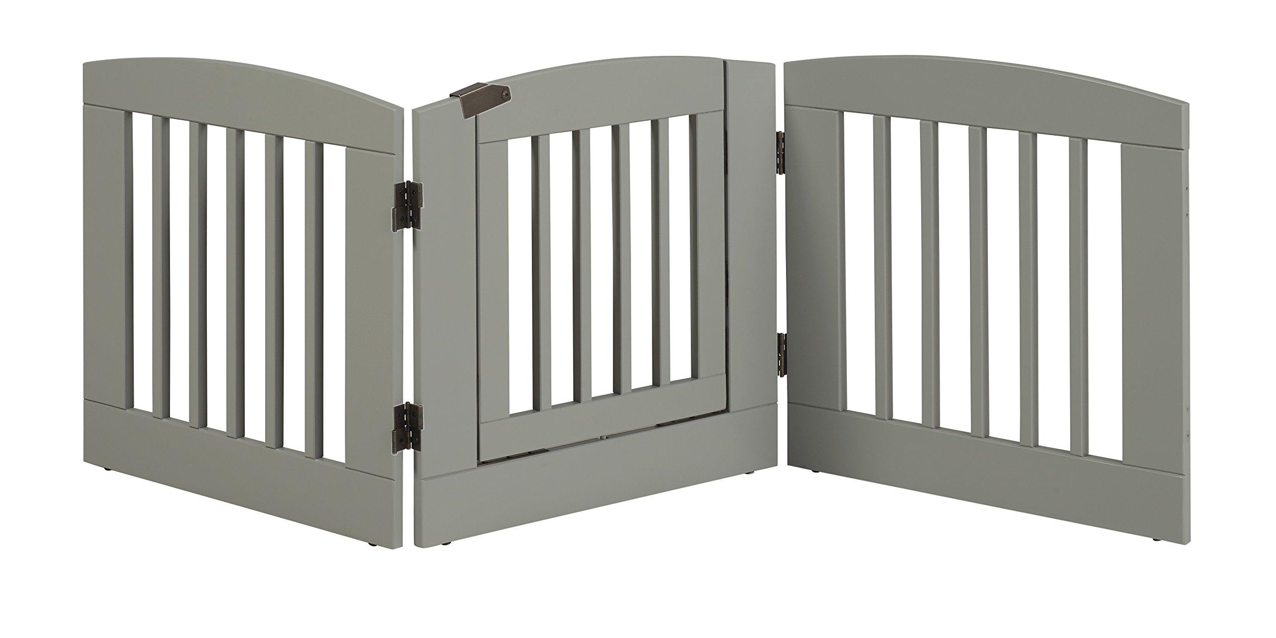 BarkWood Freestanding Wood Pet Gate - 3 Panel Expansion - with Walk-Thru Door - Medium - 24''H - Grey Finish