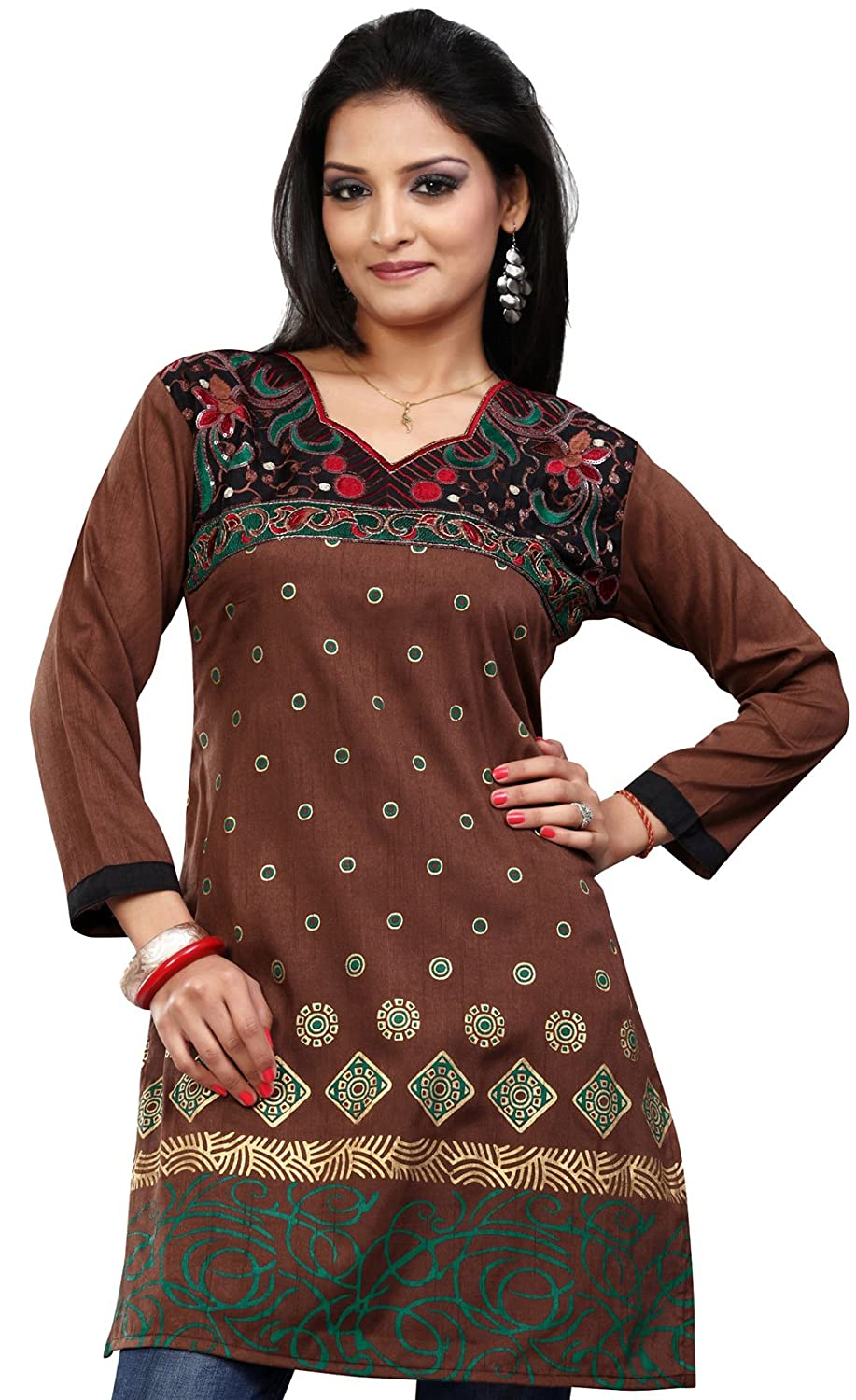 Long India Tunic Top Womens Kurti Printed Embroidered Blouse Indian Clothing