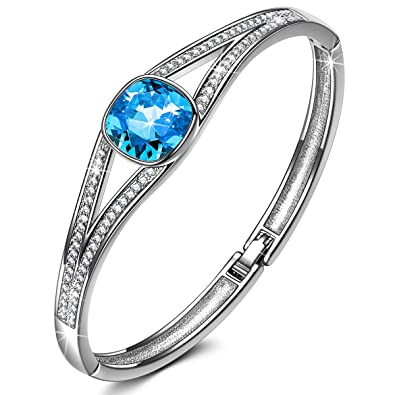 4d19ac0cf9be4 J.NINA Jewelry with ♥Deluxe Packaging♥ -Legend of The Moon- Emerald Bangle  with Cushion Brilliant Cutting Crystals from Swarovski, Fashion ...