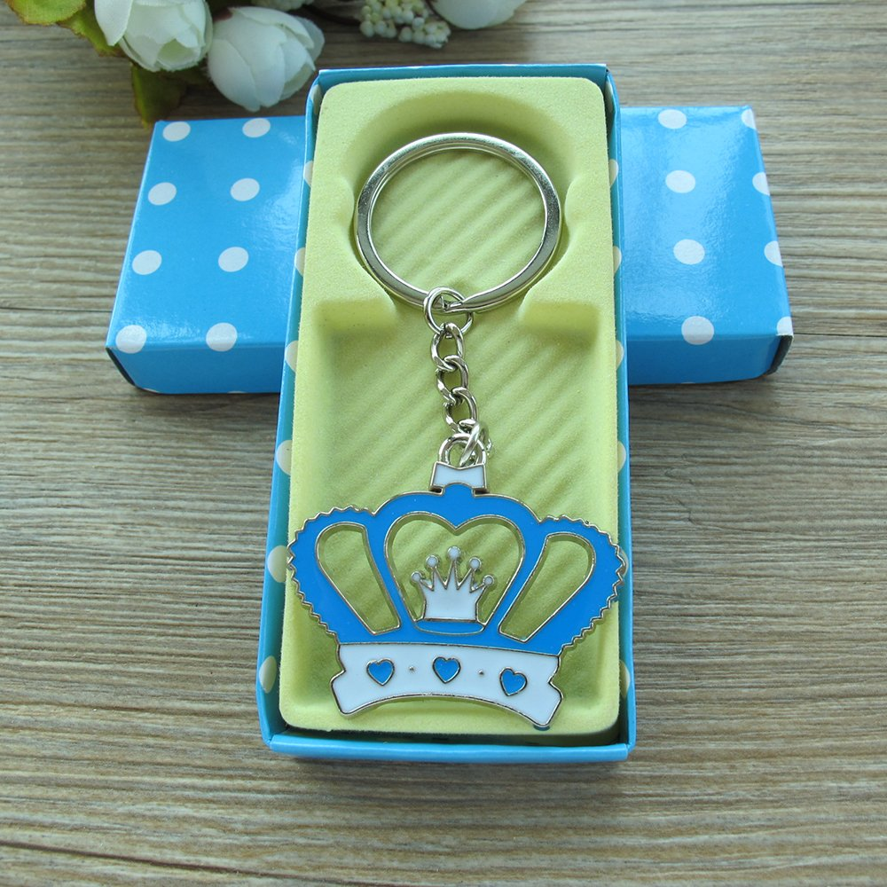 Crown Keychain Baby Boy Shower Favor Blue 12PCS/ Birthday Party Gift for Guest/Corona Llavero Table...