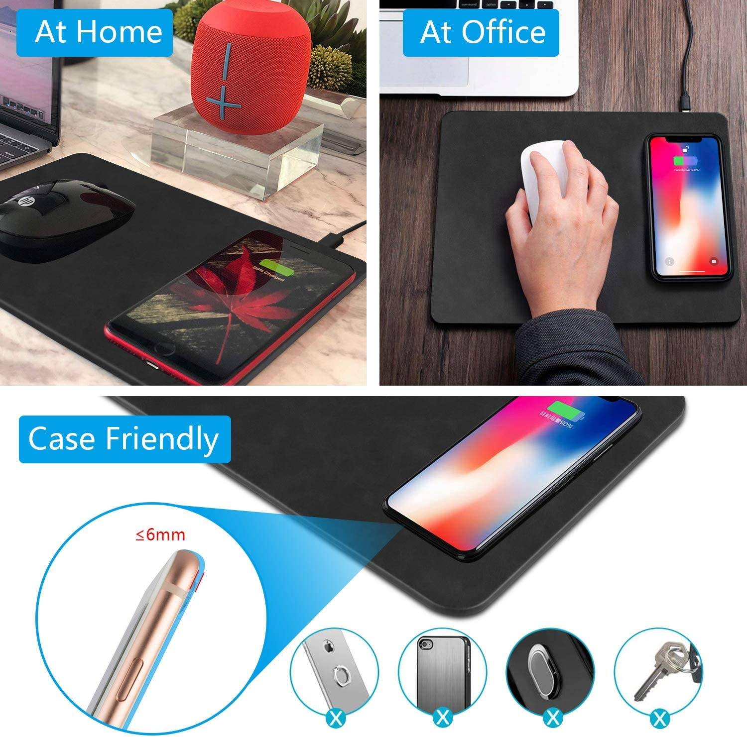 Wireless Charger Mouse Pad Black-1 Fast Wireless Charger,QI Wireless Mouse Pad for Samsung Galaxy S10//S9//S8 Plus Note 9//8 iPhone Xs Max//XR//X//XS//8//8 Plus