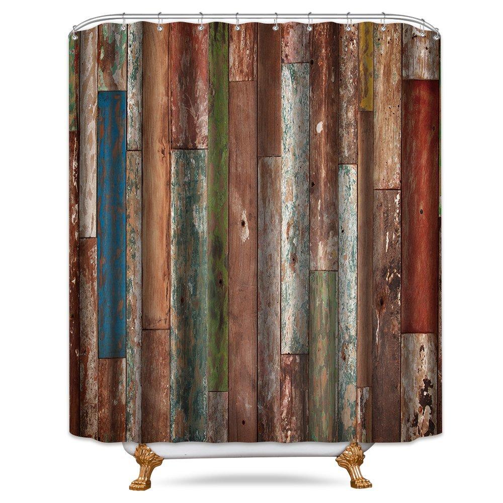 Cdcurtain Wooden Rustic Shower Curtain Panel 72x78 Inch Metal Hooks 12-Pack Brown Old Barn Wood Door Farmhouse Decor Fabric Set Bathroom Waterproof
