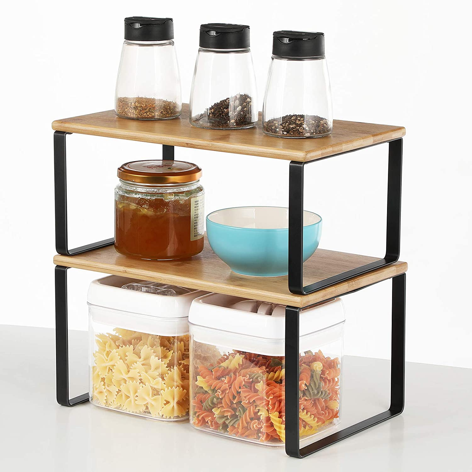 Bamboo Cabinet Counter Shelf Expandable Stackable Kitchen ...