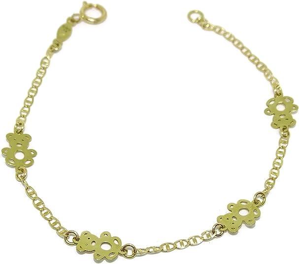 Bracelet pour fille en or jaune de 18 K avec 4 Décor Fashion 16 cm