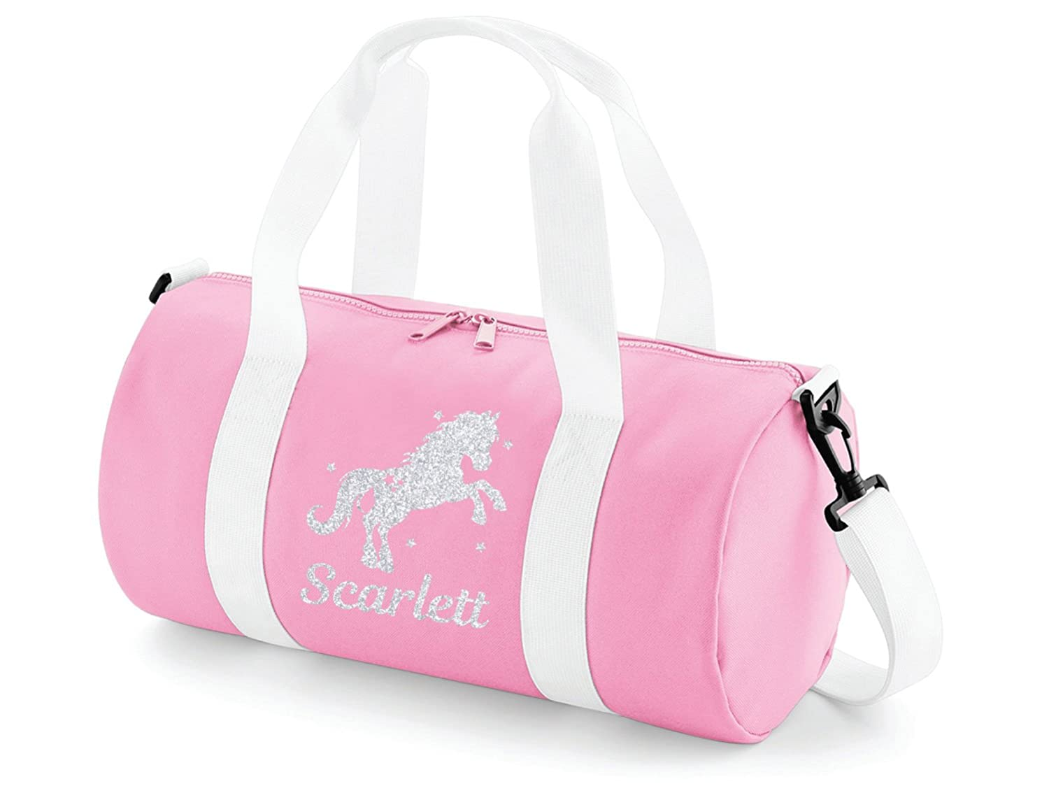 Absolutely Top Childrens Personalised Horse Riding Glitter Barrel Bag