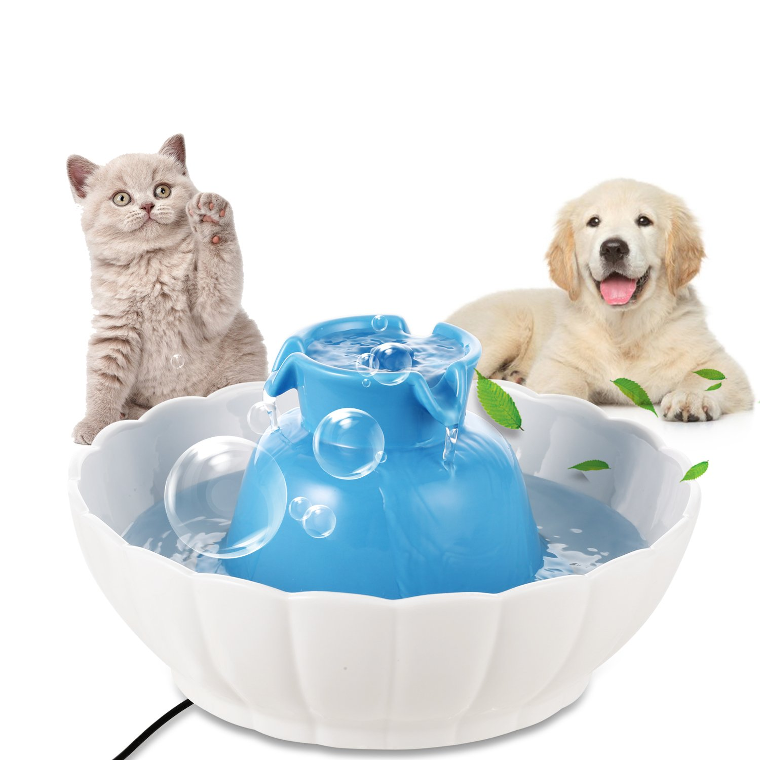 Homdox Pets Ceramic Drinking Fountain Pet Feeder Automatic Cat Feeder Automatic water Fountain for Dogs Cats (Pet Fountain)